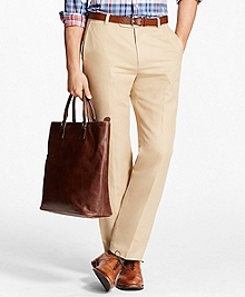 Milano Fit Houndstooth Linen and Cotton Chinos