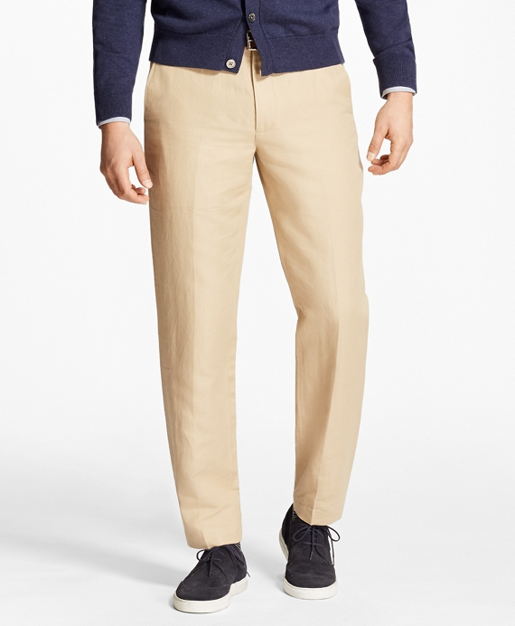 Clark Fit Houndstooth Linen and Cotton Chinos