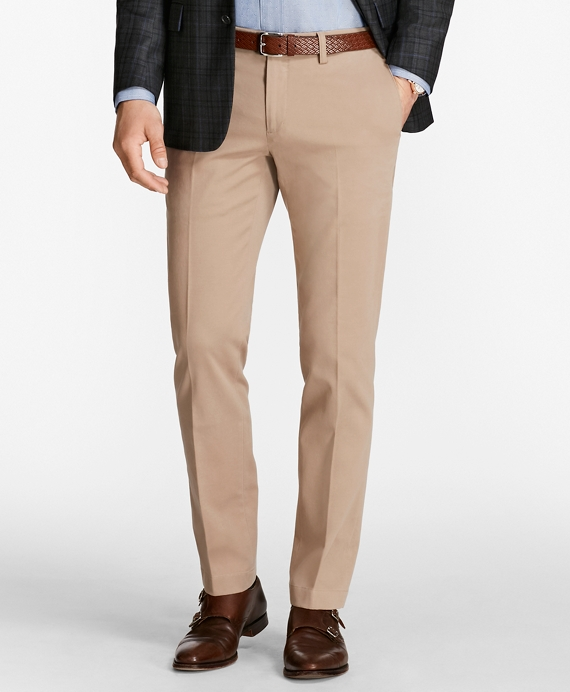 Slim Fit Twill Stretch Pants Khaki