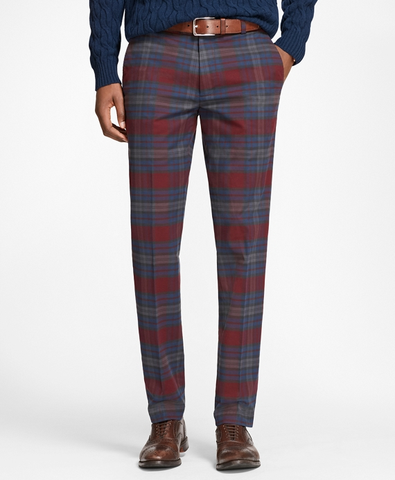 Milano Fit Tartan Stretch Pants Navy