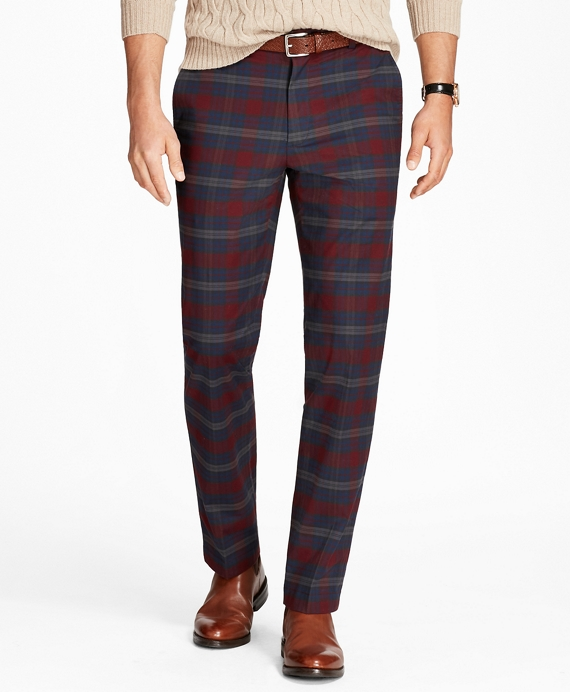 Clark Fit Tartan Stretch Pants Navy