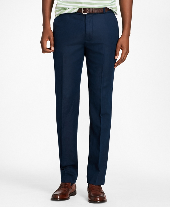 Milano Fit Linen and Cotton Chino Pants Navy