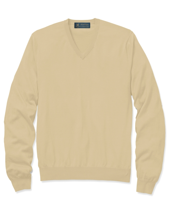 St Andrews Links Silk and Cotton V-Neck Sweater Corn