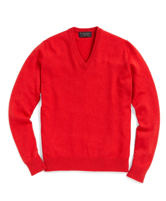 Cashmere V-Neck Sweater Bright Orange