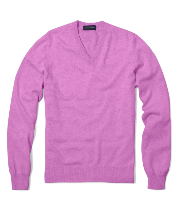 Cashmere V-Neck Sweater Bright Pink