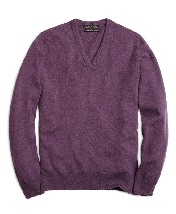Cashmere V-Neck Sweater Grape