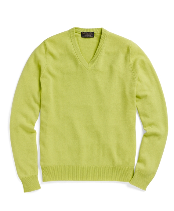 Cashmere V-Neck Sweater Lime Green