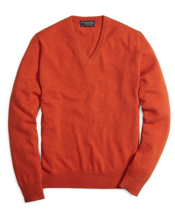 Cashmere V-Neck Sweater Orange