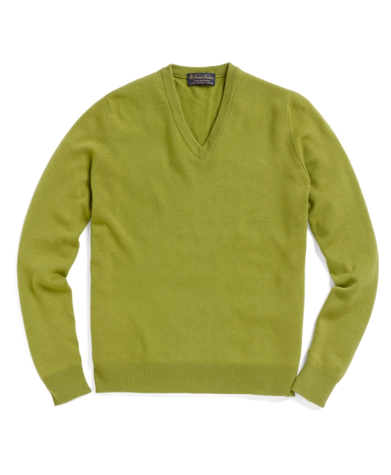 Cashmere V-Neck Sweater Pea Green