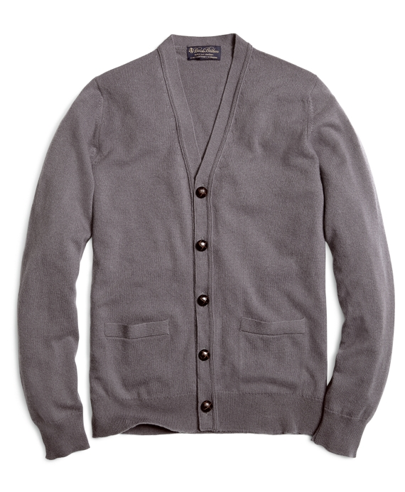 Cashmere Button Cardigan Grey