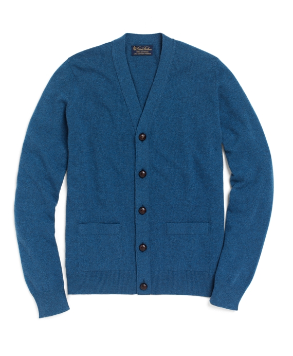 Cashmere Button Cardigan Medium Blue Heather