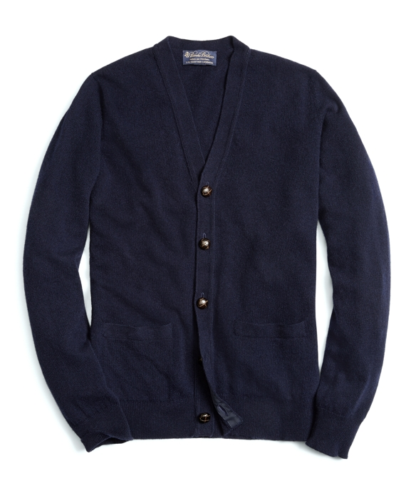 Cashmere Button Cardigan Navy