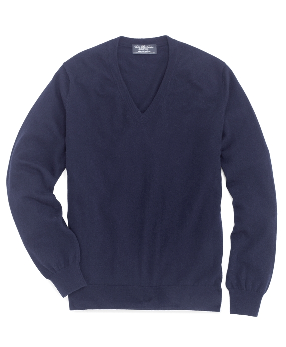 Country Club Lightweight Cashmere V-Neck Navy