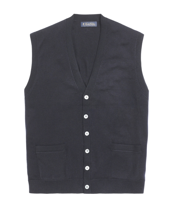 Button-Down Merino Vest Navy