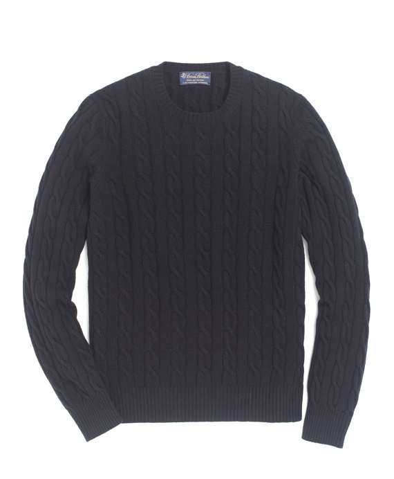 Cashmere Crewneck Cable Sweater Black