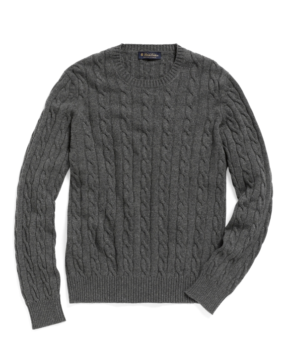Cashmere Crewneck Cable Sweater Grey