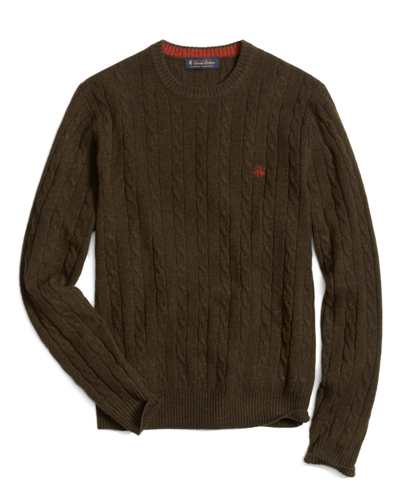 Lambswool Cable Crewneck Sweater Dark Green