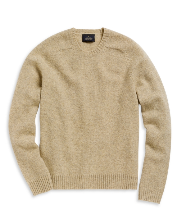 Shetland Saddle Shoulder Crewneck Sweater Oatmeal Heather