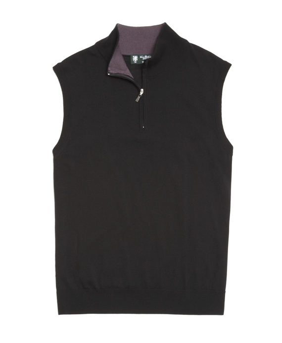 Lightweight Saxxon® Wool Half-Zip Vest Black