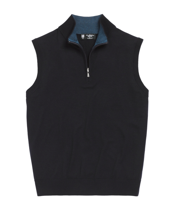 Lightweight Saxxon Wool Half-Zip Vest Navy