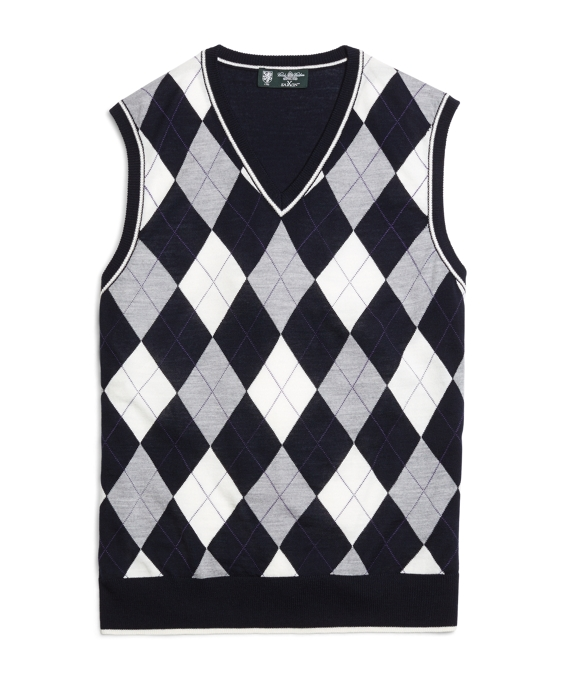 Men's Country Club Navy, White, and Grey Argyle Sweater Vest ...