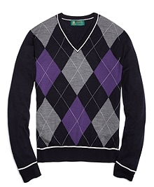 Country Club Saxxon® Wool Large Argyle V-Neck Sweater with Tipping