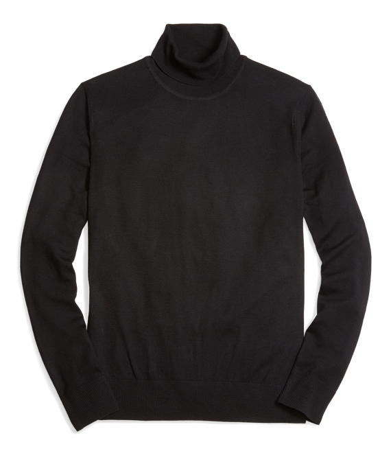 Country Club Lightweight Saxxon Wool Turtleneck Sweater Black