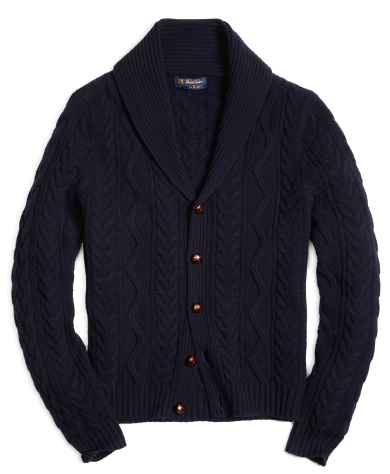 Saxxon Wool Shawl Collar Fisherman Cardigan Navy