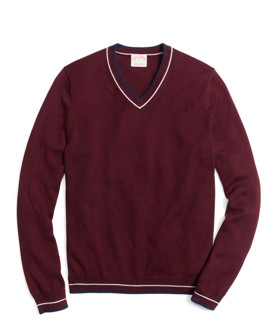 Tipped V-Neck Sweater Burgundy