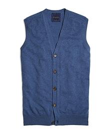 Blue Cashmere Button-Front Vest