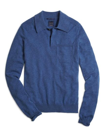 Blue Cashmere Knit Polo