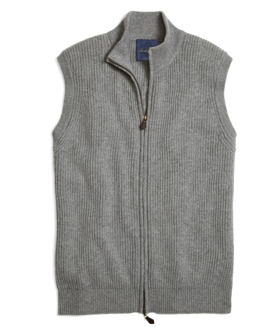 Men's Grey Cashmere Full-Zip Sweater Vest | Brooks Brothers