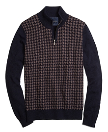 Cashmere Large Houndstooth Half-Zip Mockneck Sweater