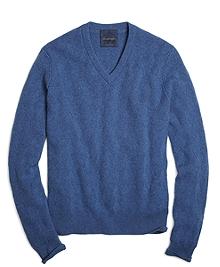 Soft Denim Cashmere Basketweave V-Neck Sweater