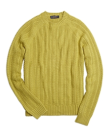 Cotton Cashmere Cable Crewneck Sweater