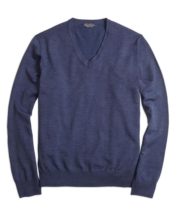 Saxxon Wool V-Neck Sweater Blue