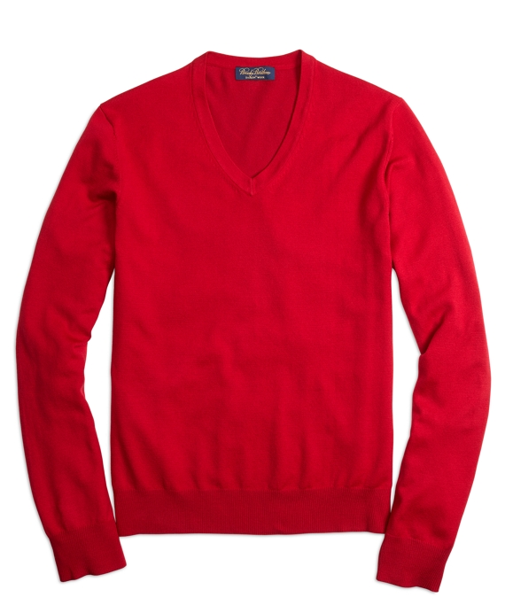 Saxxon™ Wool V-Neck Sweater Red