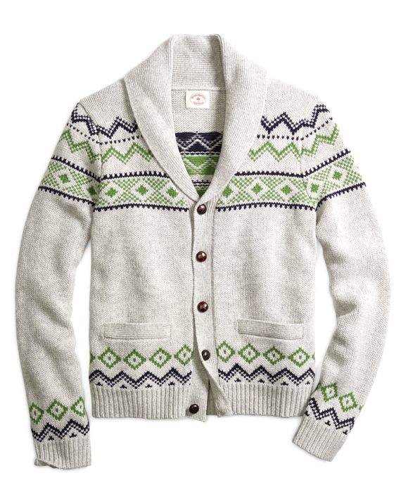 Men's Grey and Green Fair Isle Shawl Collar Cardigan | Brooks Brothers