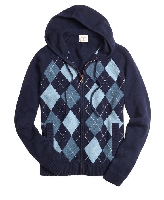 Mens Navy Argyle Sweater Argyle Hooded Sweater Navy