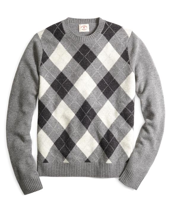 Argyle Crewneck Sweater Grey