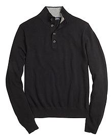 Cotton Cashmere Button Mockneck
