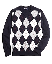 Cashmere Argyle V-Neck Sweater