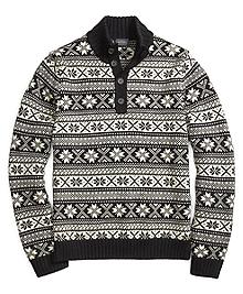 Merino Wool Fair Isle Mockneck Sweater