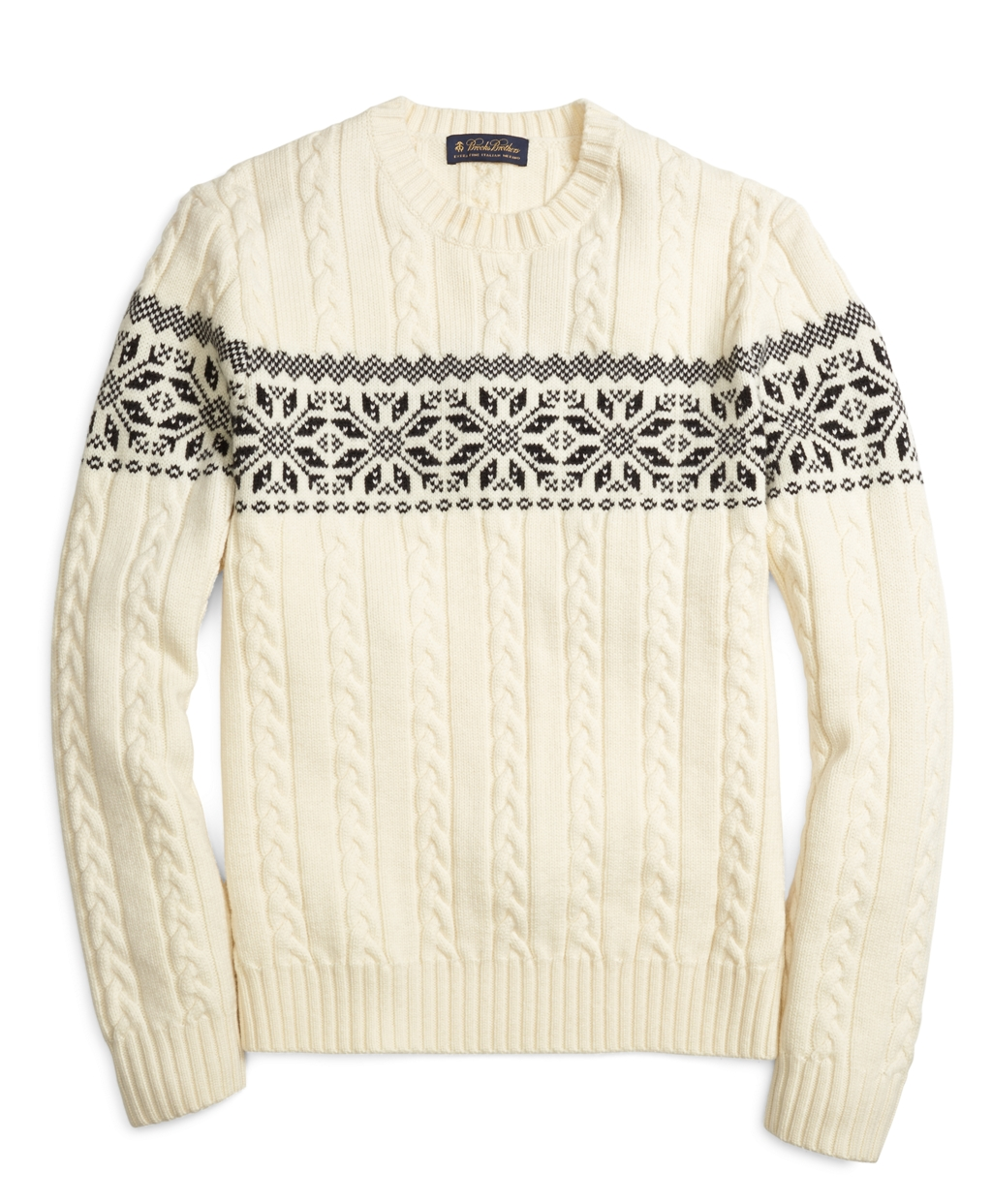 Men's Merino Wool Ivory Fair Isle Snowflake Crewneck Sweater ...