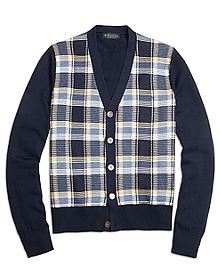 Supima® Cotton Plaid Button-Front Cardigan