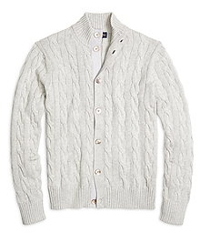 Supima® Cotton Button-Front Cable Cardigan