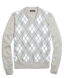Supima® Cotton Textured Argyle V-Neck Sweater