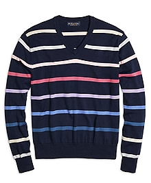 Supima® Cotton Stripe V-Neck Sweater