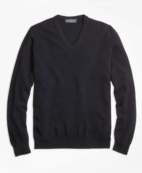 Cashmere V-Neck Sweater-Basic Colors Black