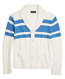 Chest Stripe Shawl Collar Cardigan